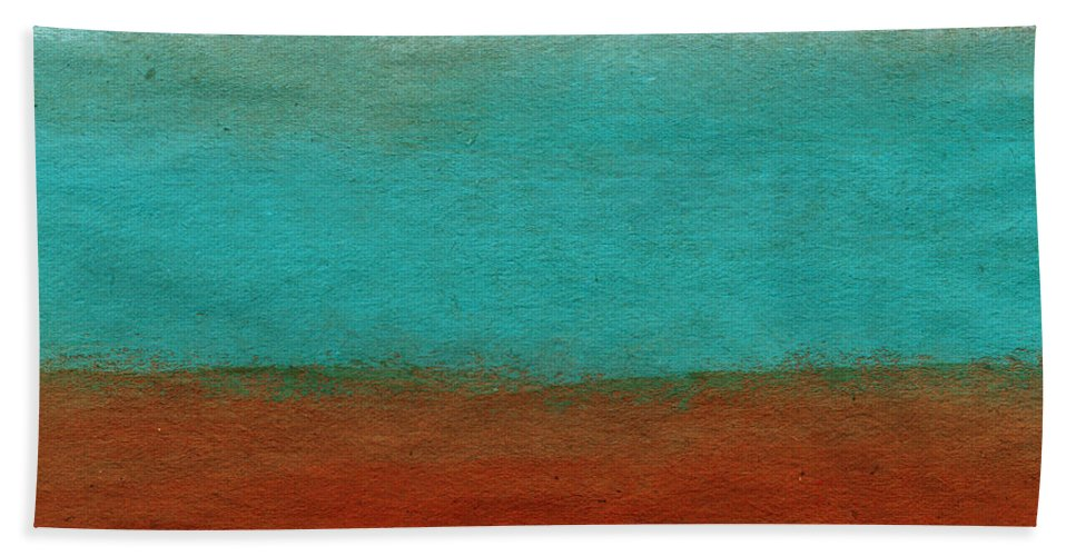 Abstract Landscape Beach Towel featuring the painting Tuscan by Linda Woods