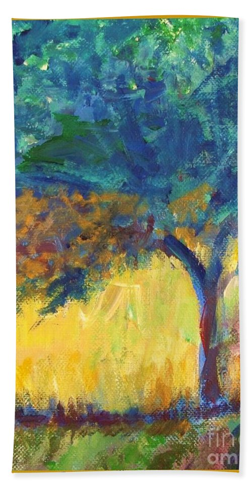 Tuscany Beach Towel featuring the painting Tuscany Hill Side Shadows by Eric Schiabor