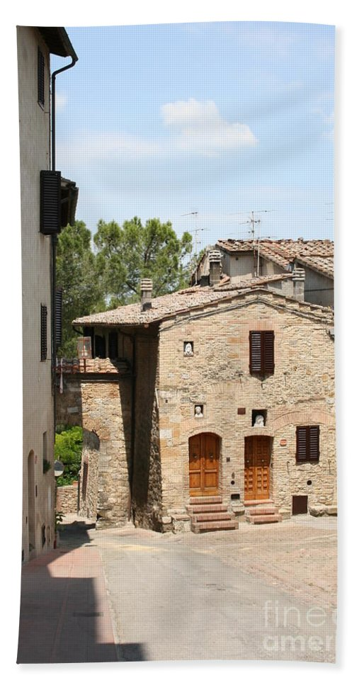 House Beach Towel featuring the photograph Tuscany Street by Christiane Schulze Art And Photography