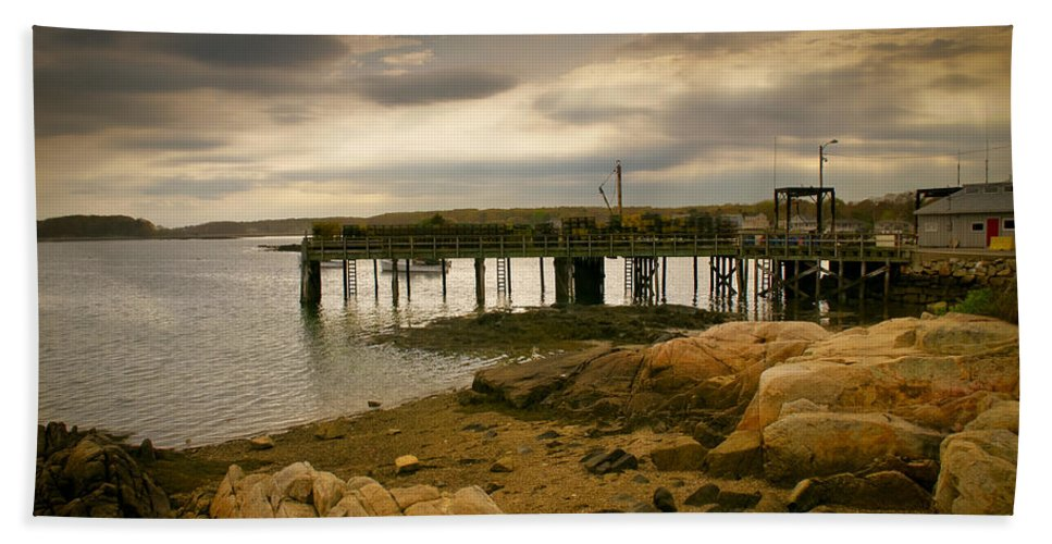 Kennebunk Beach Towel featuring the photograph Twilight Cape Porpoise Maine by Bob Orsillo