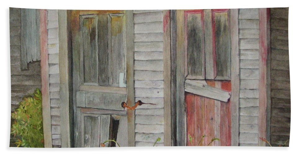 Farm Buildings Beach Sheet featuring the painting Twin Doors by Mary Ellen Mueller Legault