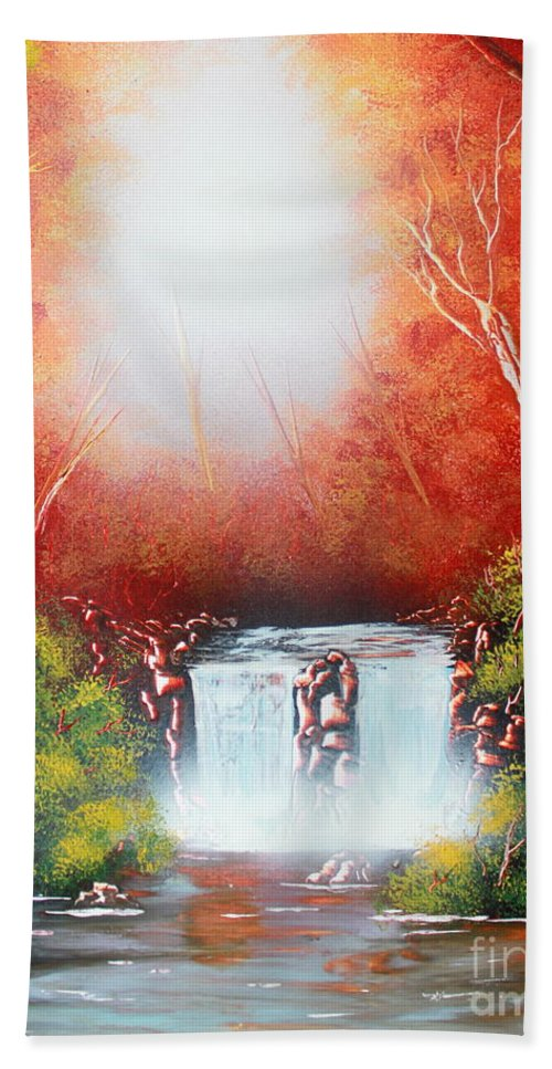 Sundown Beach Towel featuring the painting Twin Falls by Greg Moores