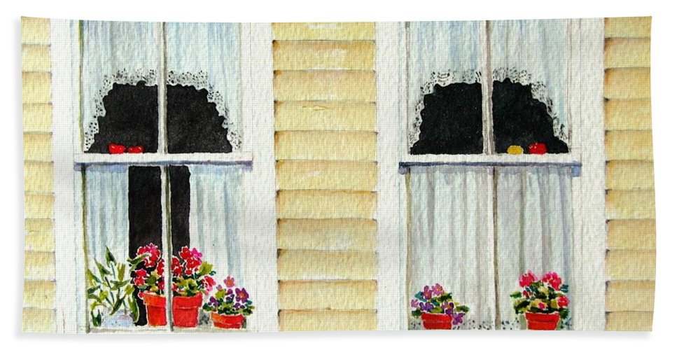 Windows Beach Towel featuring the painting Twin Peeks by Mary Ellen Mueller Legault