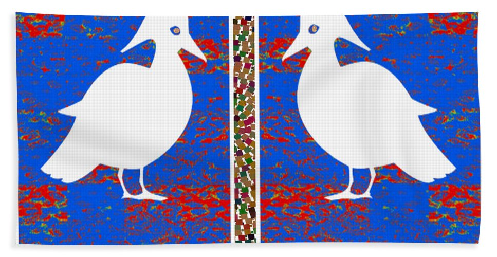 Soul Beach Towel featuring the mixed media Twin Souls Love Birds Snow White Color by Navin Joshi