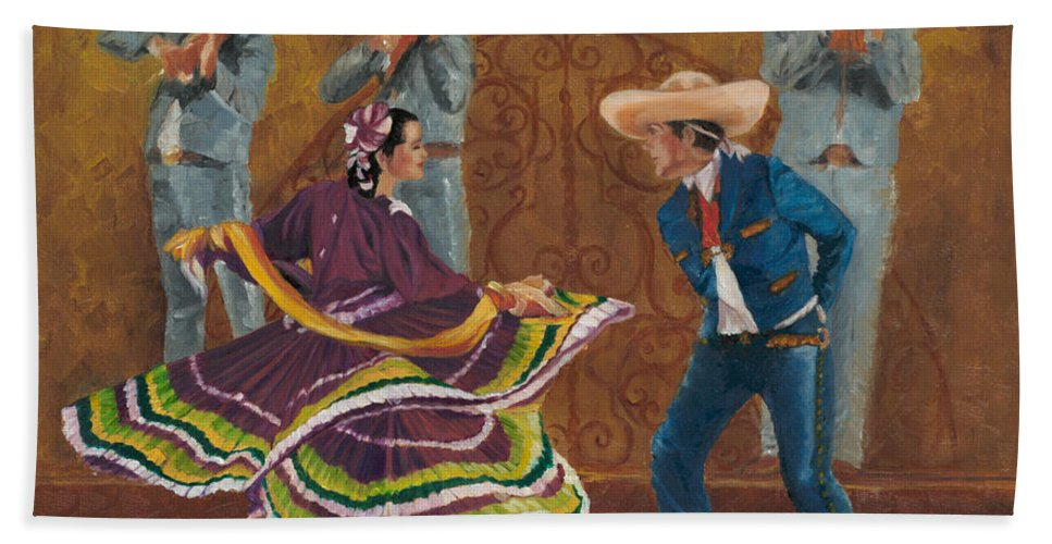Folklorico Beach Towel featuring the painting Twirling Skirt by Maria Gibbs