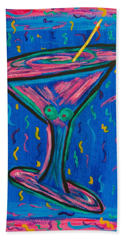 Martini Beach Towel featuring the painting Twisted Martini by Susan Cliett