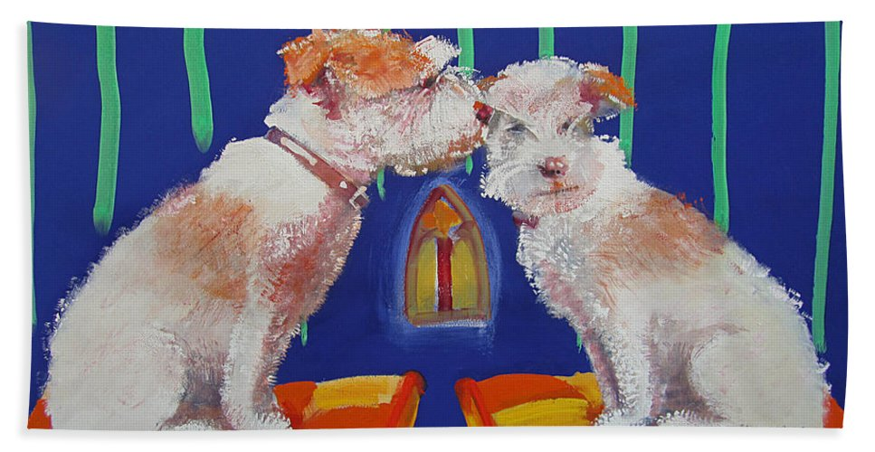Puppy Beach Sheet featuring the painting Two Border Terriers Together by Charles Stuart