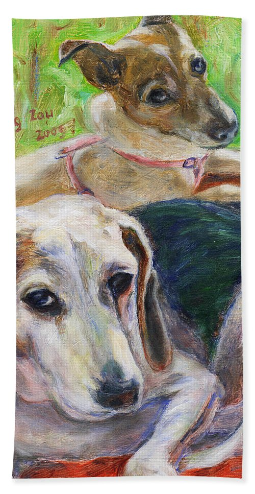 Dog Beach Towel featuring the painting Two Dogs by Xueling Zou