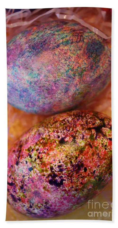 Abstract Beach Towel featuring the photograph Two Eggs In The Basket by Brook Steed