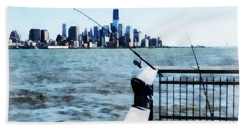 Fisherman Beach Towel featuring the photograph Two Fishing Poles by Susan Savad