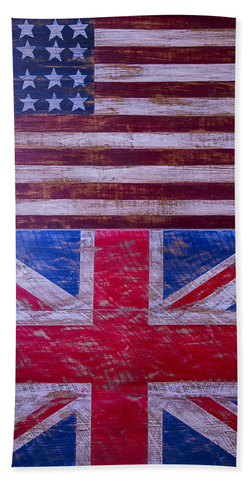 Two Beach Towel featuring the photograph Two Flags American And British by Garry Gay