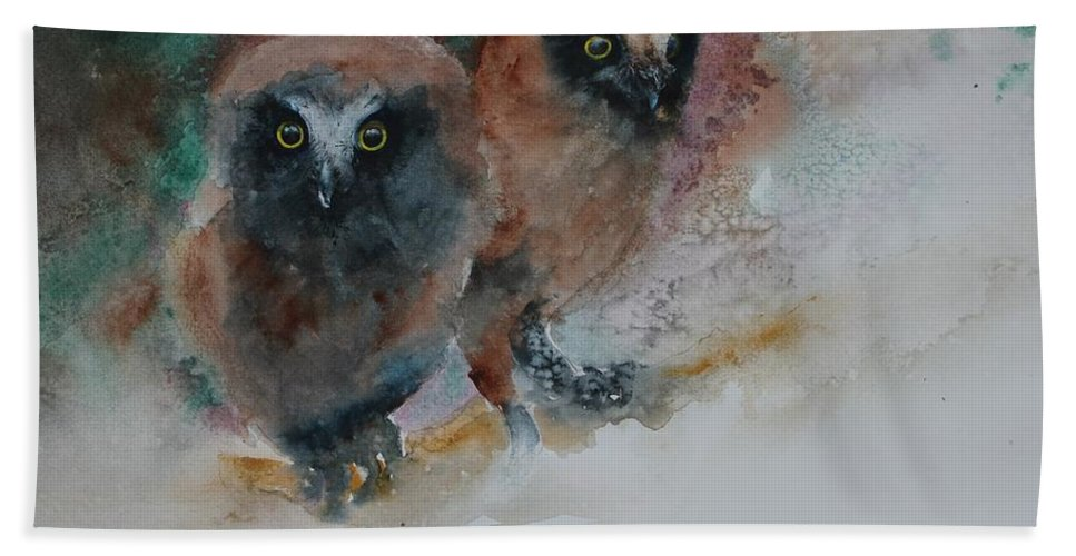 Owls Beach Towel featuring the painting Two Hoots by Ruth Kamenev