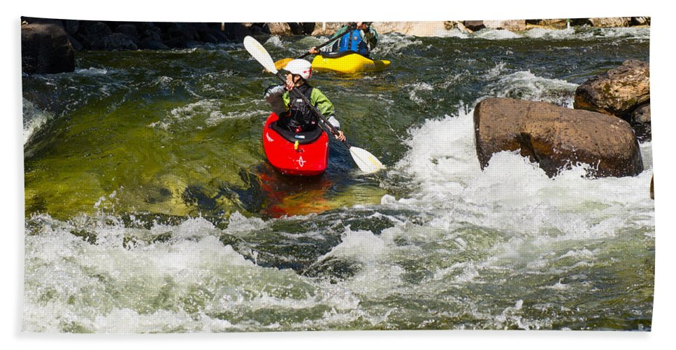 Kayak Beach Towel featuring the photograph Two Kayakers On A Whitewater Course by Les Palenik