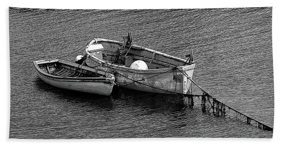 #rowboat #water Beach Towel featuring the photograph Two Old Rowboats by Kathleen Struckle