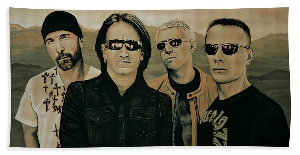 U2 Beach Towel featuring the painting U2 Silver And Gold by Paul Meijering