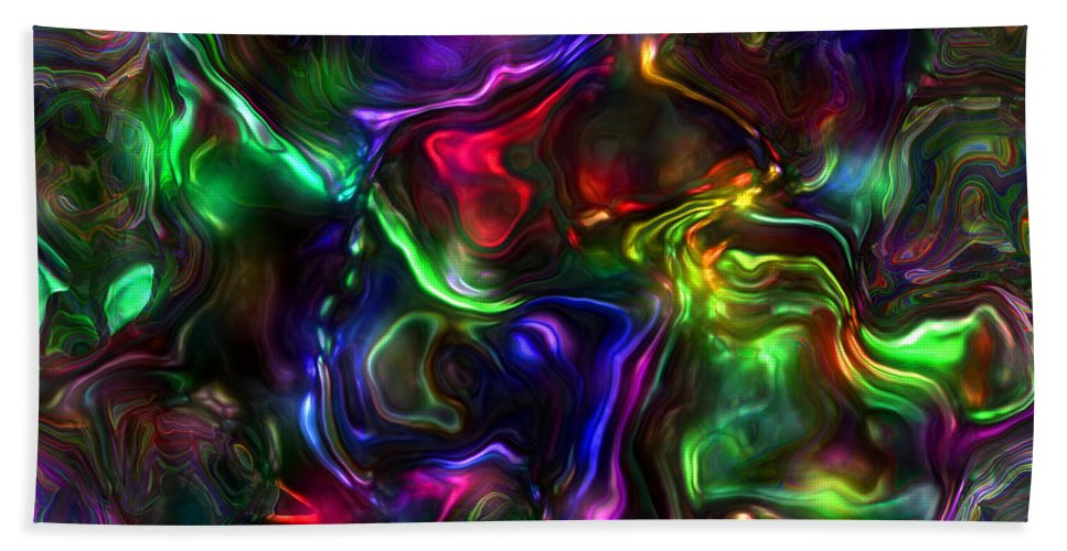 Abstract Beach Towel featuring the painting Umbilical Souls by RC DeWinter