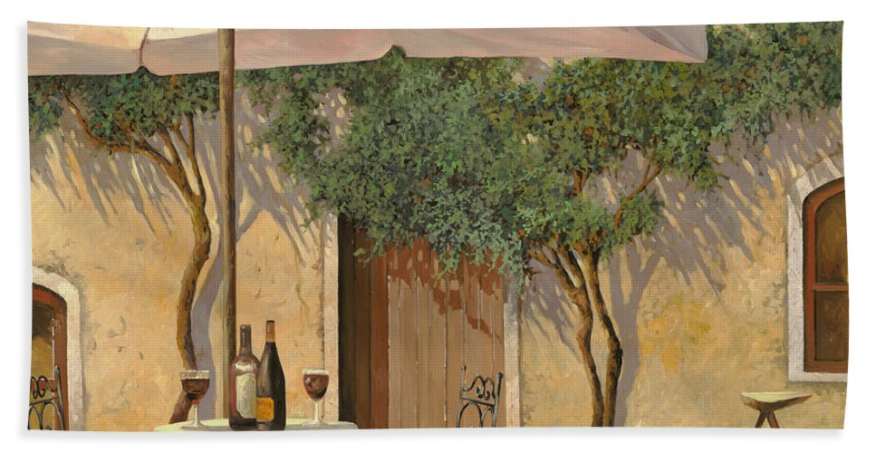 Courtyard Beach Sheet featuring the painting Un Ombra In Cortile by Guido Borelli