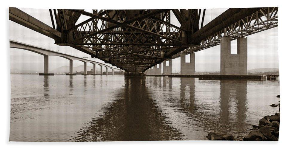 Bridges Beach Towel featuring the photograph Under Bridges by Donna Blackhall