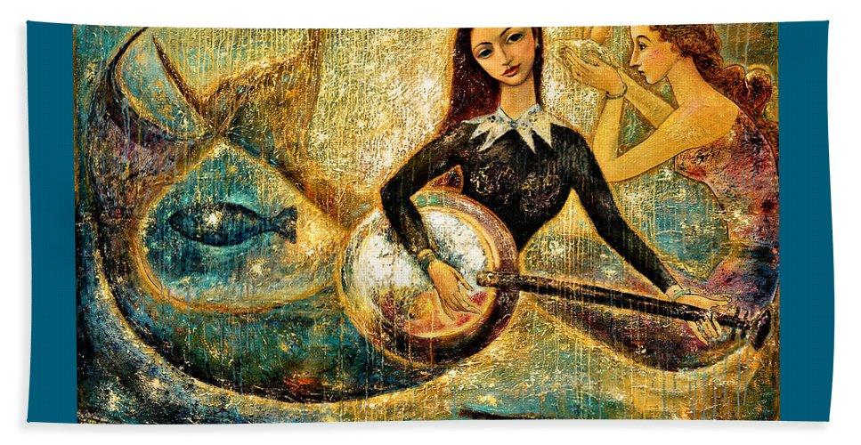 Mermaids Beach Towel featuring the painting Undersea by Shijun Munns