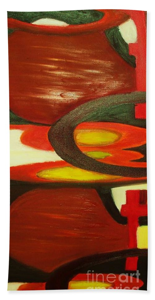 Oil Abstract Beach Towel featuring the painting Unique I by Yael VanGruber