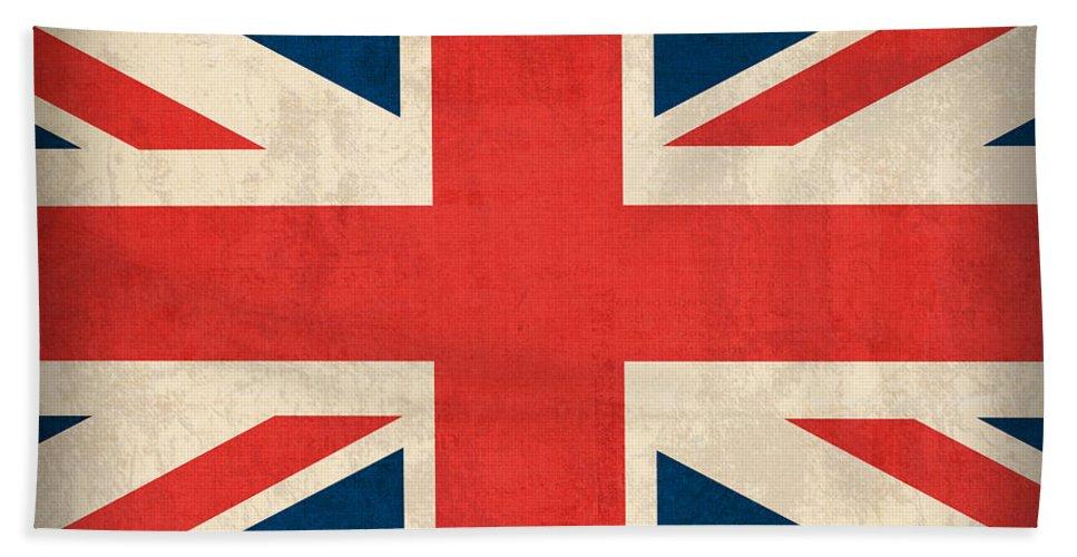 United Kingdom Union Jack England Britain Flag Vintage Distressed Finish London English Europe Uk Country Nation British Beach Towel featuring the mixed media United Kingdom Union Jack England Britain Flag Vintage Distressed Finish by Design Turnpike