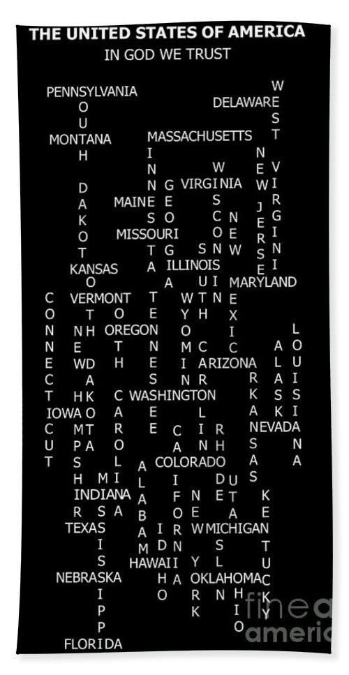 United States Crossword Puzzle Art Beach Towel featuring the digital art United States Crossword Puzzle Art 2 by Barbara Griffin