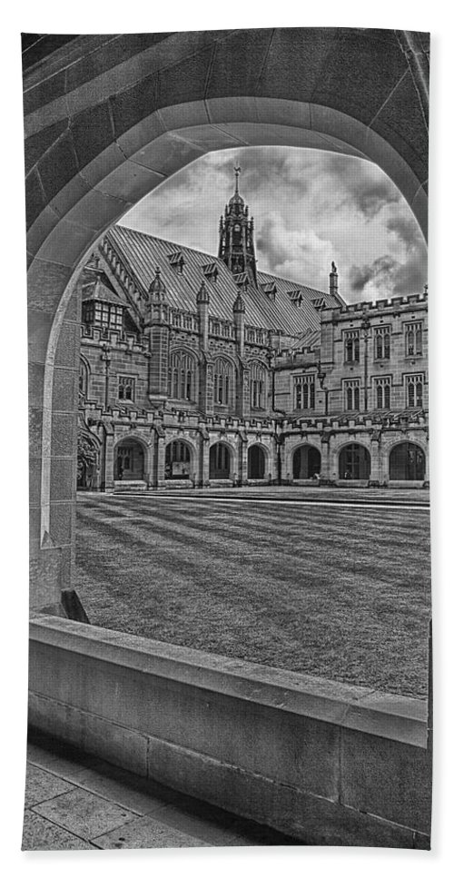 University Of Sydney Beach Towel featuring the photograph University Of Sydney-black And White V3 by Douglas Barnard