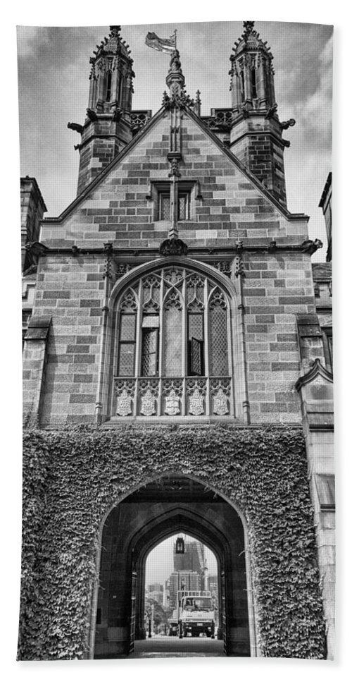 University Of Sydney Beach Towel featuring the photograph University Of Sydney-black And White V4 by Douglas Barnard