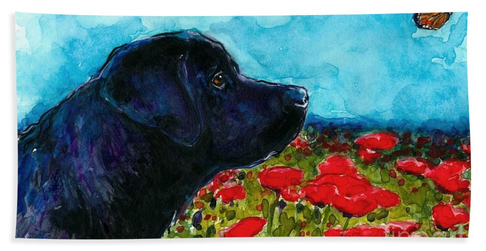 Black Lab Beach Towel featuring the painting Updraft by Molly Poole