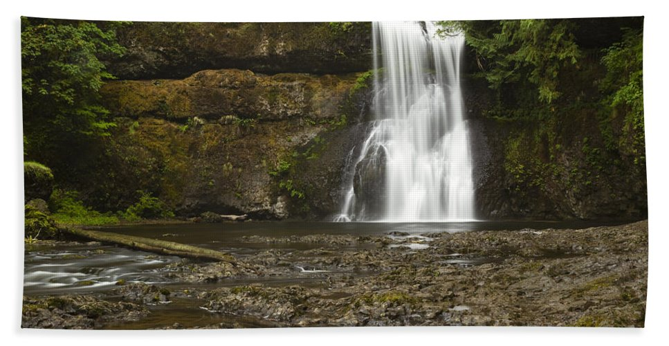 Upper Beach Towel featuring the photograph Upper North Silver Falls 1 by John Brueske