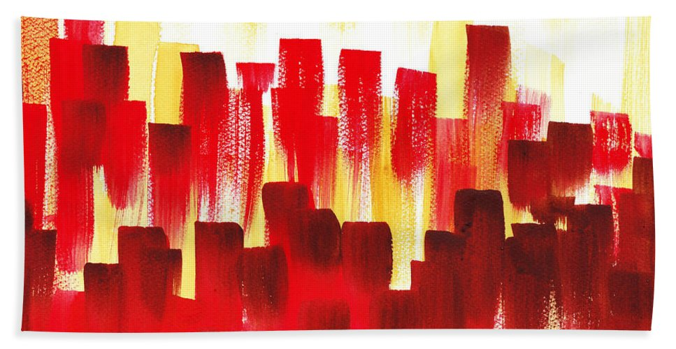 Abstract Beach Towel featuring the painting Urban Abstract Red City Lights by Irina Sztukowski