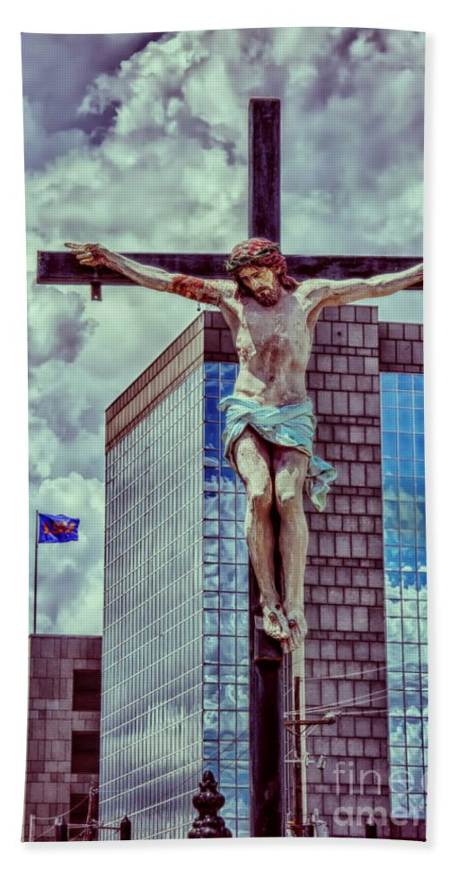 Jesus Beach Towel featuring the photograph Urban Crucifixion by Kathleen K Parker
