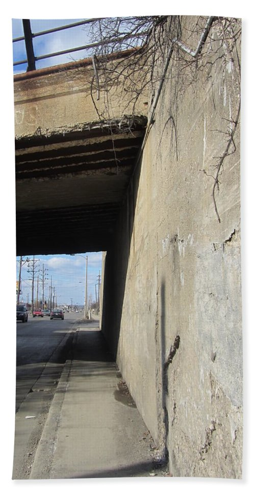 Concrete. Bridge Beach Towel featuring the photograph Urban Decay Train Bridge 2 by Anita Burgermeister