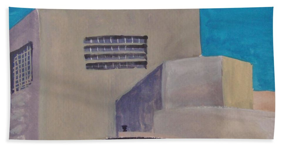 Guggenheim Beach Towel featuring the painting Urn On The Guggenheim by Margaret Bobb