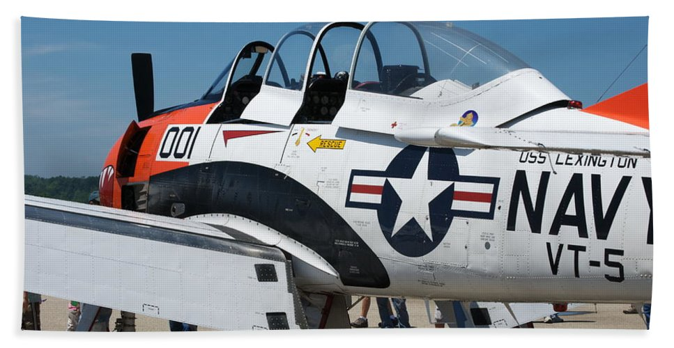 War Planes Beach Towel featuring the photograph Us Navy Plane 001 by Thomas Woolworth