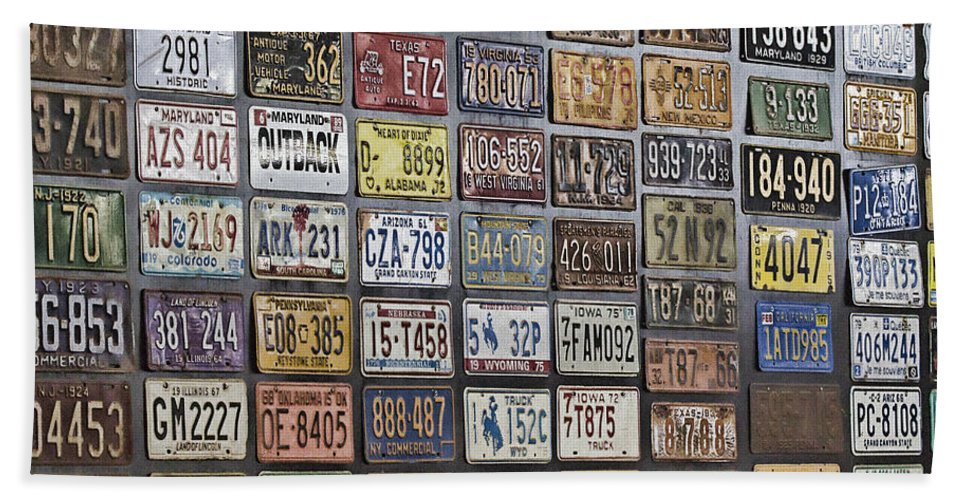 Usa Number Plates Wall Feature Beach Towel featuring the photograph Usa-everywhere by Douglas Barnard