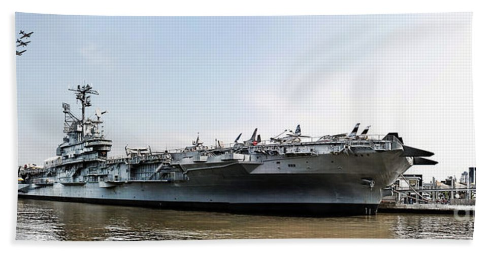 Uss Intrepid Beach Towel featuring the photograph Uss Intrepid Sea-air-space Museum In New York City. by Nishanth Gopinathan