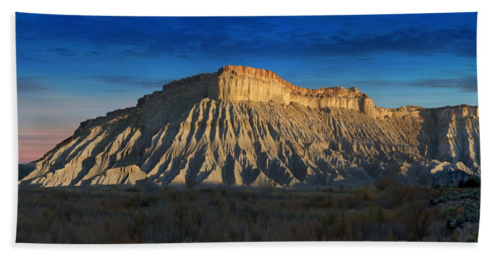 Landscape Beach Towel featuring the photograph Utah Outback 40 Panoramic by Mike McGlothlen