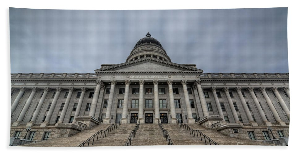 Hdr Beach Towel featuring the photograph Utah State Capitol Building by Michael Ver Sprill