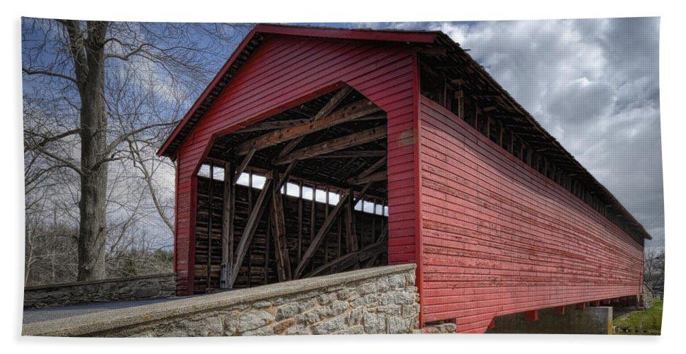 Utica Mills Beach Towel featuring the photograph Utica Mills Covered Bridge by Joan Carroll