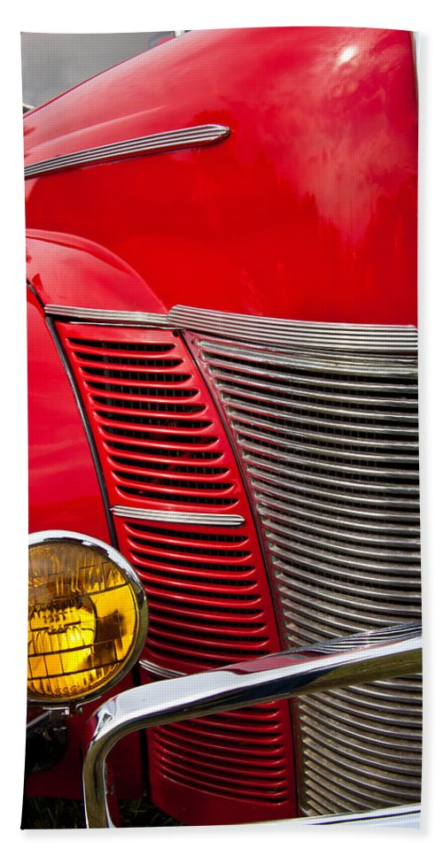 Classic Car Beach Towel featuring the photograph V8 - Another View by Mark Alder