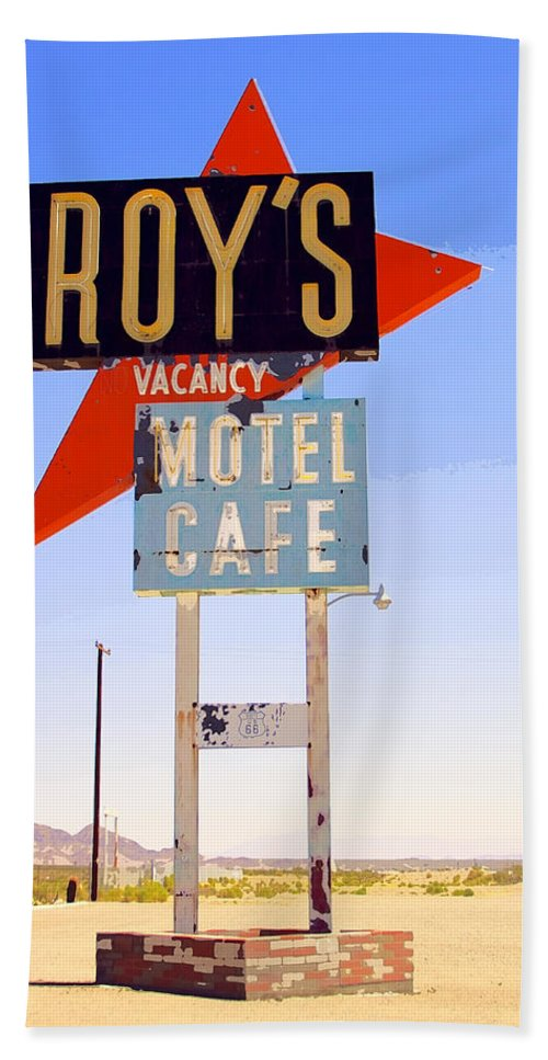 Roy's Beach Towel featuring the photograph Vacancy Route 66 by William Dey