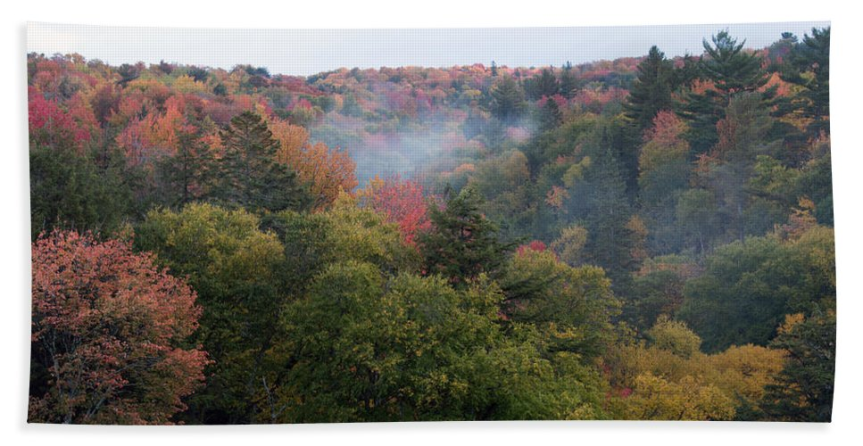 Upper Peninsula Beach Towel featuring the photograph Valley Of Color by Linda Kerkau