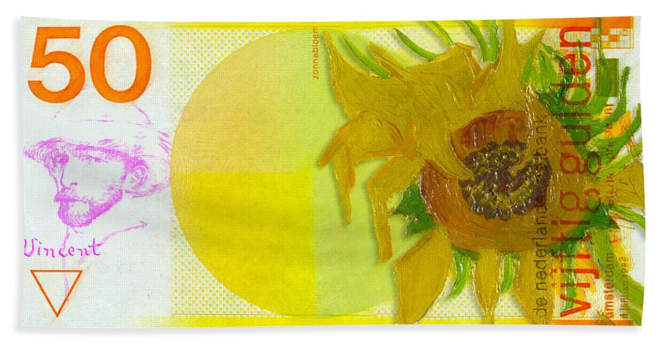 van goghs 50 gulden note with his sunflower beach towel for sale