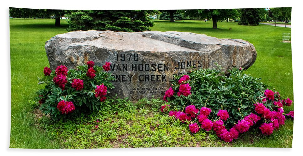 Van Hoosen Jones Stoney Creek Cemetery Entrance Rock Beach Towel featuring the photograph Van Hoosen Jones Stoney Creek Entrance Stone by Grace Grogan
