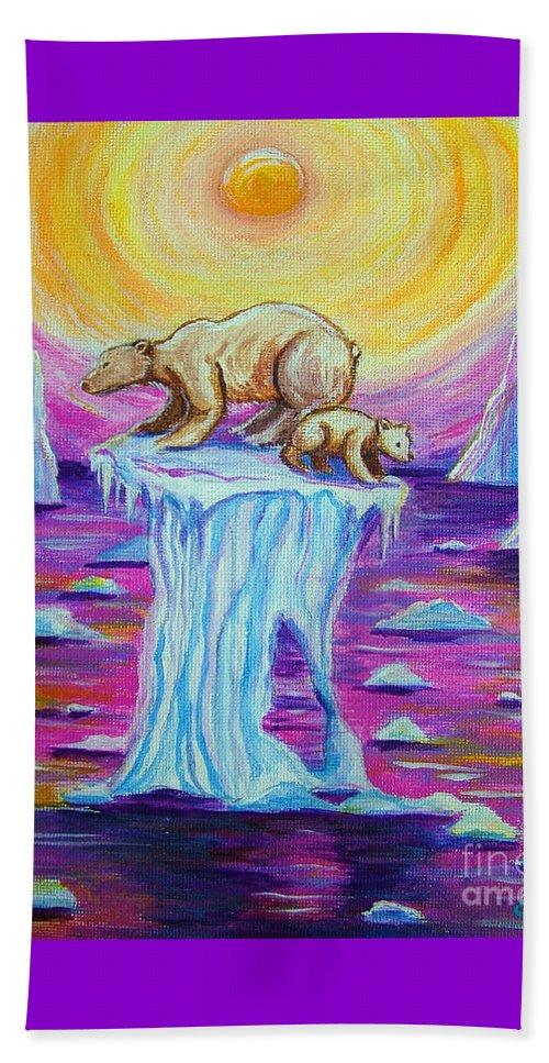 Polar Bear Beach Towel featuring the painting Vanishing Future by Nick Gustafson