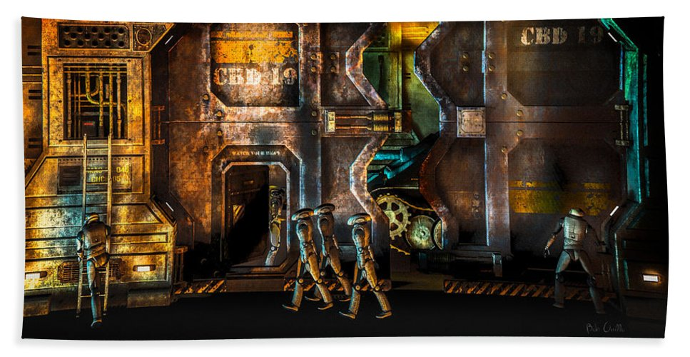 Android Beach Towel featuring the digital art Vanishing Memory Machine by Bob Orsillo