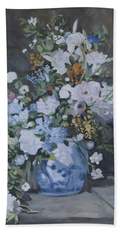 Renoir Beach Towel featuring the painting Vase Of Flowers - Reproduction by Masami Iida