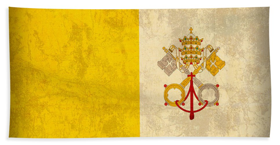 Vatican Beach Towel featuring the mixed media Vatican City Flag Vintage Distressed Finish by Design Turnpike