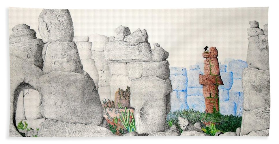 Landscape Beach Towel featuring the painting Vaulting by A Robert Malcom